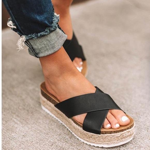 5c72c4387a6 Black X Strap Espadrille Platform Sandals